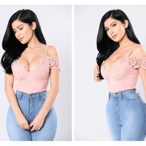 fashion nova distraction pink lace bodysuit
